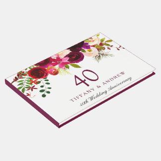 Livro De Visitas Aniversário de casamento floral vermelho de