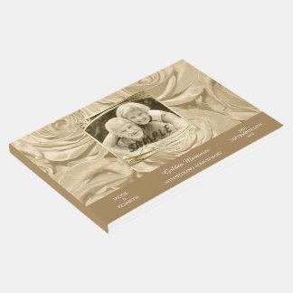 Livro De Visitas Aniversário do ouro do modelo da foto dos rosas do