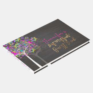 Livro De Visitas Árvore de PixDezines de vida Mitzvah/rosa+Quadro