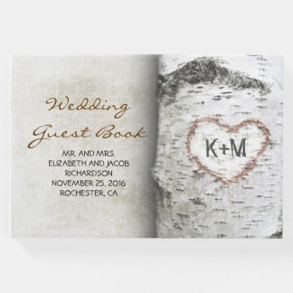 Livro De Visitas Árvore de vidoeiro e casamento rústico cinzelado
