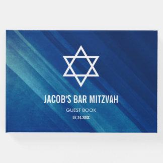 Livro De Visitas Bar azul moderno Mitzvah do Grunge