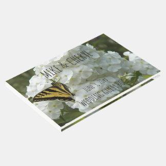 Livro De Visitas Borboleta Phlox branco no casamento personalizado