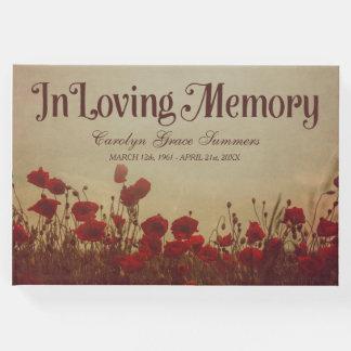 Livro De Visitas Campo rústico da papoila em memória Loving