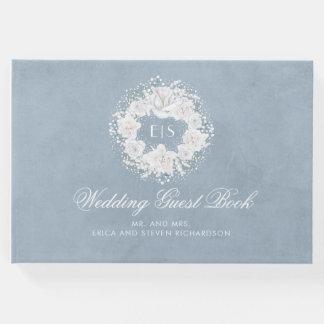 Livro De Visitas Casamento azul branco e empoeirado da respiração