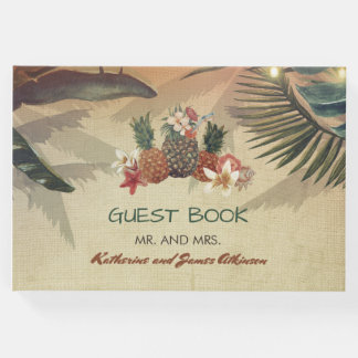 Livro De Visitas Casamento de praia tropical rústico