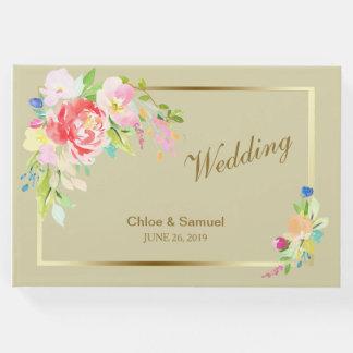 Livro De Visitas Casamento do quadro do ouro do buquê do primavera