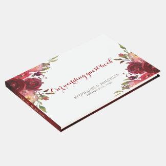 Livro De Visitas Casamento floral das rosas vermelhas de Borgonha
