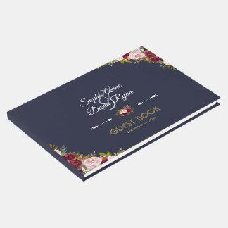 Livro De Visitas Casamento floral dos azuis marinhos elegantes de