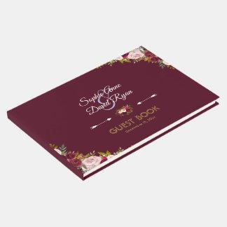 Livro De Visitas Casamento floral elegante de Marsala Borgonha