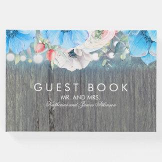 Livro De Visitas Casamento floral rústico do celeiro de turquesa