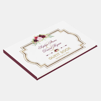 Livro De Visitas Casamento outono floral do ouro de Borgonha