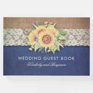 Livro De Visitas Casamento outono rústico do marinho do laço e do
