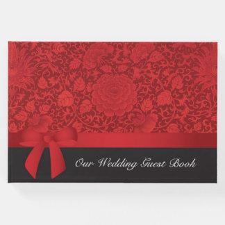 Livro De Visitas Casamento vermelho de brocado