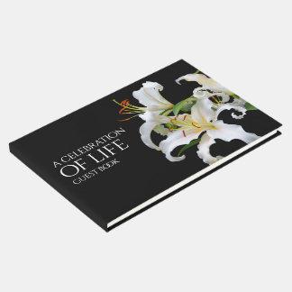 Livro De Visitas Celebração oriental branca elegante dos lírios da