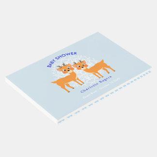 Livro De Visitas Chá de fraldas azul do Xmas | do inverno dos