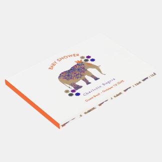 Livro De Visitas Chá de fraldas bonito do elefante da cor rústica