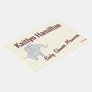 Livro De Visitas Chá de fraldas bonito do elefante   para honrar a