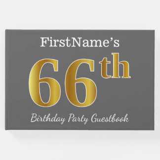 Livro De Visitas Cinzas, festa de aniversário do ouro 66th do falso