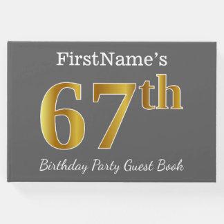 Livro De Visitas Cinzas, festa de aniversário do ouro 67th do falso