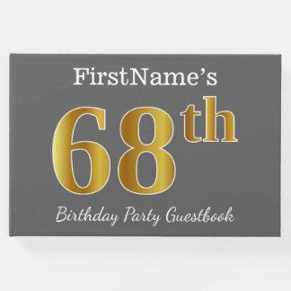 Livro De Visitas Cinzas, festa de aniversário do ouro 68th do falso