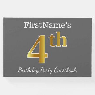 Livro De Visitas Cinzas, festa de aniversário do ouro do falso 4o +