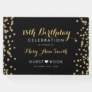 Livro De Visitas Confetes Blac do brilho do ouro do aniversário do