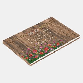 Livro De Visitas Corações de madeira do monograma com Wildflowers -