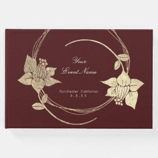 Livro De Visitas Do ouro marrom do campo de Borgonha Lux floral da