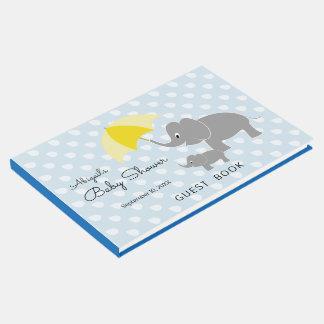 Livro De Visitas Elefante & bebê, guarda-chuva, chá de fraldas azul