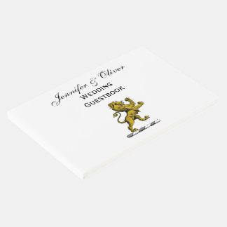 Livro De Visitas Emblema ereto C da crista do leão heráldico