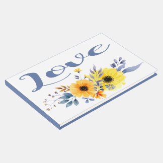 Livro De Visitas Flores azuis florais do amarelo da aguarela do