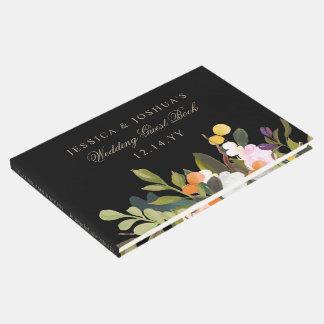 Livro De Visitas Flores florais pintadas que Wedding o preto