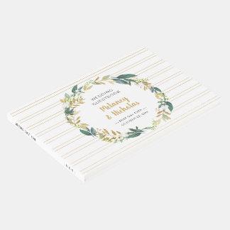 Livro De Visitas Grinalda floral branca + o ouro listra o casamento