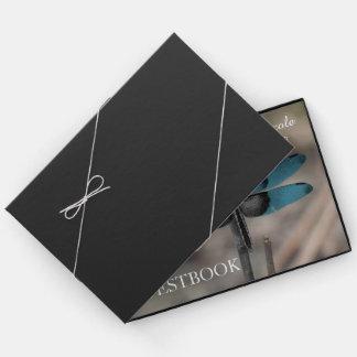 Livro De Visitas Guestbook azul rústico do casamento da libélula