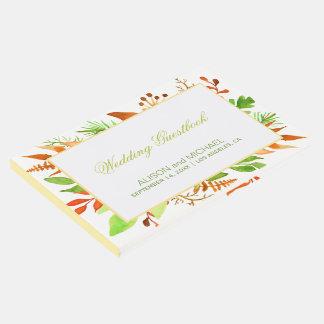 Livro De Visitas Guestbook branco do casamento do marfim das folhas