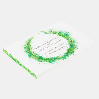 Livro De Visitas Guestbook do casamento da grama da aguarela das