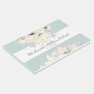 Livro De Visitas Guestbook floral do casamento do vintage branco