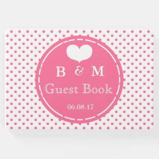 Livro De Visitas Guestbook personalizado de Polkadots teste padrão