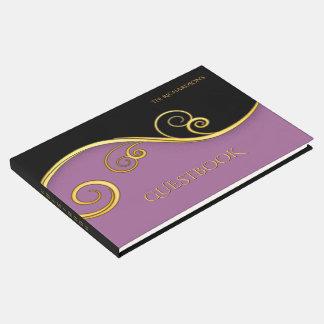 Livro De Visitas Guestbook roxo-preto elegante