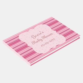 Livro De Visitas Listras cor-de-rosa doces e bebé novo dos pontos