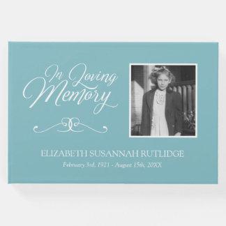 Livro De Visitas Luz - caligrafia azul em foto Loving da memória