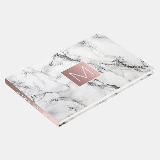 Livro De Visitas monograma cor-de-rosa do ouro no olhar de mármore