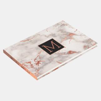 Livro De Visitas monograma preto na pedra cor-de-rosa do mármore do