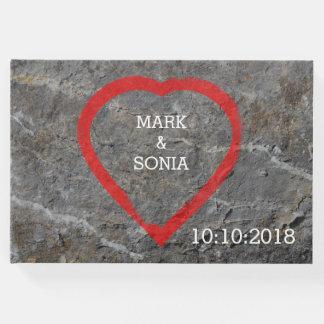 Livro De Visitas Noivos cinzelados pedra do coração
