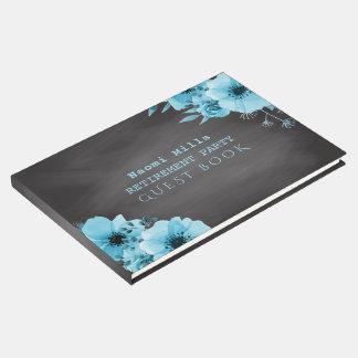 Livro De Visitas O azul do partido de aposentadoria floresce o