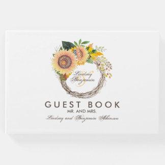 Livro De Visitas Os girassóis envolvem o casamento outono rústico
