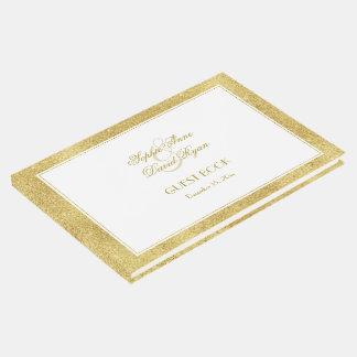Livro De Visitas Ouro elegante e casamento branco da beira