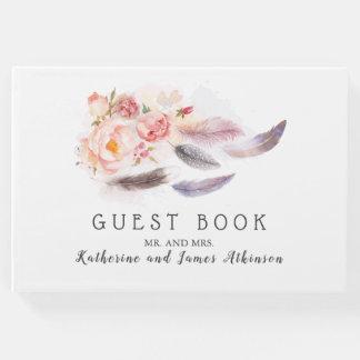 Livro De Visitas Penas florais de Boho