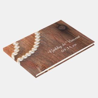 Livro De Visitas Pérolas rústicas e casamento de madeira do país do
