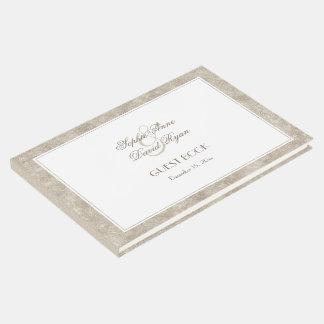 Livro De Visitas Prata elegante e casamento branco da beira